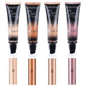 Iluminador Liquido Body Glow Shine Ruby Rose HB8110- Kit C/4 Unid