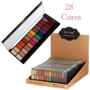 Paleta de Sombras 28 Cores Colorida Belle Angel T016-02 -  Kit C/ 12 Unidades
