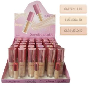 Corretivo Liquido Feels Bege Ruby Rose HB8102-02 ( Display com 36 Unid + Prov )