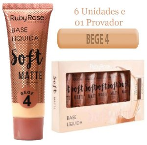 Ruby Rose - Base Soft Matte  Bege 4  ( Kit C/6 Unid e Prov )