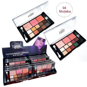 Kit de Maquiagem 10 Sombra + 3 Blush Miss France MF7502 - DIsplay C/12 Unid