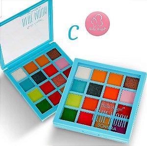 Paleta de Sombras Alta Pigmentação 16 Cores Belle Angel B087 - Cor