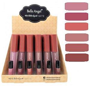 Batom Liquido Velvet Cores Nudes Belle Angel B077 ( A ) - Kit C/ 6 Unid