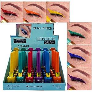 Delineador de Olhos Colorido Glam Bella Femme BF10092 - Display C/ 24 Unid