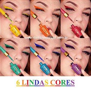 Delineador de Olhos Colorido Glam Bella Femme BF10092 - Kit C/ 6 Unid