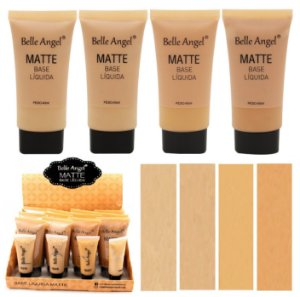 Base Líquida Matte Belle Angel Cores Claras 40ml T048A - Display com 12 unid e Prov