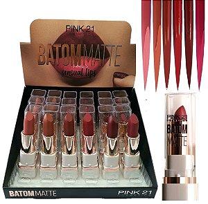 Batom de Luxo Matte Pink21 Sensual Lips 2419-B - Display C/ 24 unid e Prov