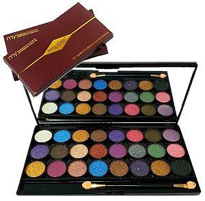 Paleta de Sombras Luxo com Espelho Miss Rose 7001-356 ( M Cor 2 ) - Kit C/ 6 Unid