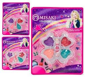 Kit de Maquiagem Infantil 17 x 12,5 cm Misaki 57A - Kit C/ 12 Unid ( 3 Mod Sortidos )
