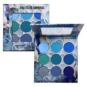 Ludurana - Paleta de Sombras 9 Cores Nuance Azul B00004 - Display C/ 12 Unid