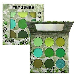 Ludurana - Paleta de Sombras 9 Cores Nuance Verde B00008 - Display C/ 12 Unid