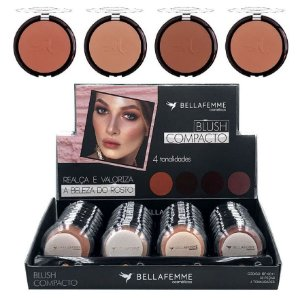 Blush Compacto 4 Tons Bella Femme BF10011 - Kit C/ 32 Unidades