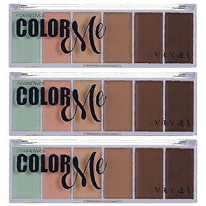 Paleta de Corretivo Facial Color Me Vivai 4032 - Kit C/ 3 Unid