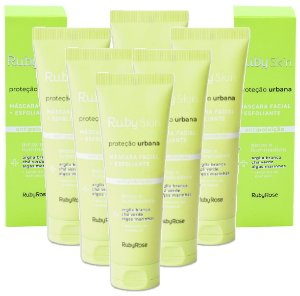 Máscara Facial Esfoliante Proteção Urbana Skin Care Ruby Rose  HB407 - Kit C/ 6 Unid
