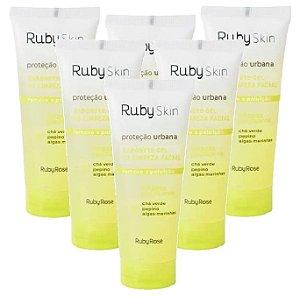 Sabonete Gel De Limpeza Proteção Urbana Skin Care Ruby Rose HB326 - Kit C/ 6 Unid