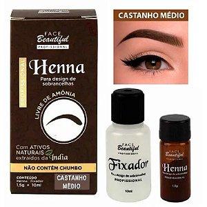Henna para Sobrancelhas da Face Beautiful Castanho Médio FB157 - Kit C/ 5 Unid