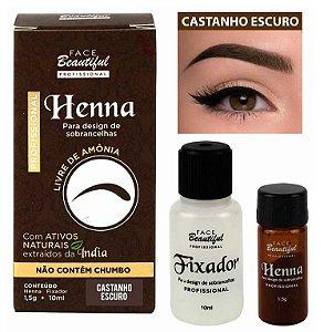 Henna para Sobrancelhas da Face Beautiful Castanho Escuro FB156 - Kit C/ 5 Unid