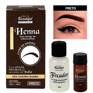 Henna para Sobrancelhas da Face Beautiful Preto FB158 - Kit C/ 5 Unid