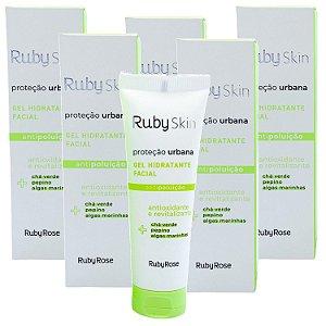 Gel hidratante facial antioxidante e revitalizante antipoluição Proteção Urbana Ruby Rose HB406 - Kit C/ 6 Unid