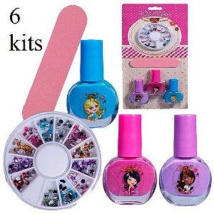 Kit Infantil para Unhas ( 3 Esmaltes, Lixa e Enfeites ) Discoteen HB94737 - 06 Kits