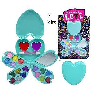 Kit de Maquiagem Infantil Coração ( Sombras, Brilho Labial, Pincel ) Discoteen HB97938 - 06 Kits