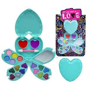 Kit de Maquiagem Infantil Coração ( Sombras, Brilho Labial, Pincel ) Discoteen HB97938
