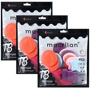 Kit com 18 Esponjas para Maquiagem Macrilan EP14 - 06 Kits