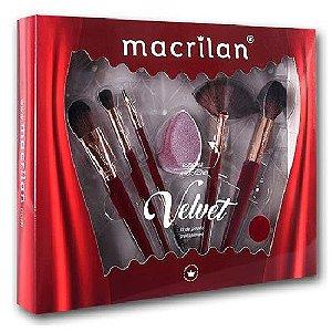 Macrilan - Kit de Pincéis e Esponja Velvet Vermelho  ED010B