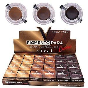 Pigmento para Sobrancelhas a Prova D'Água com Pincel Vivai 4021 - Display com 24 unidades