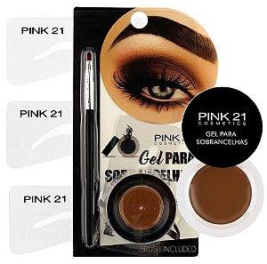 Kit Gel para Sobrancelhas com Pincel e Moldes Pink 21 CS2156
