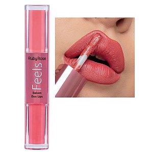 Batom Duo Lips Feels Ruby Rose HB8225 Cor 365