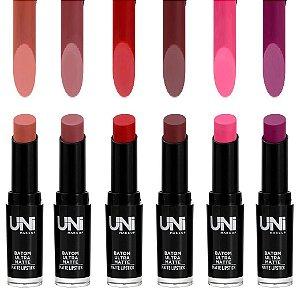 Uni Makeup - Batom Ultra Matte Chanfrado - Kit C/ 6 Unid