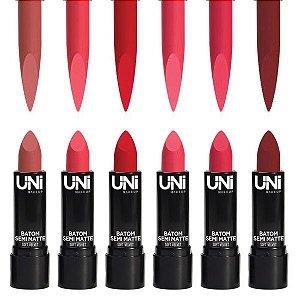 Uni Makeup - Batom Semi Matte Soft Velvet - Display Kit C/ 6 Unid
