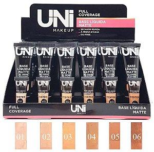 Uni Makeup  - Base Liquida Matte a Prova Dagua Full Coverage- Display C/ 24 Unid e Prov