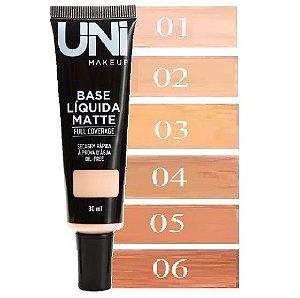 Uni Makeup - Base Liquida Matte a Prova Dagua Full Coverage - Escolha a Cor