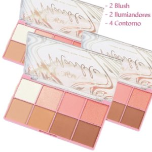 Paleta de Contorno, Blush e Iluminador Marble My Life MY8313 -  3 Unidades