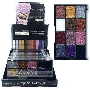 Bella Femme - Paleta de Sombras Glitter BF10062 - Display C/ 12 Unidades
