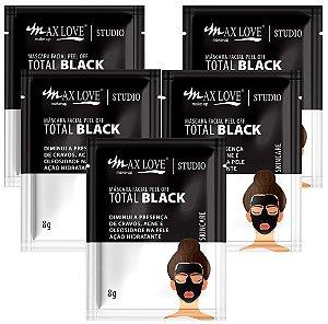 Mascara Facial Peel Of Total Black Max Love Sache - Kit C/ 5 Unid