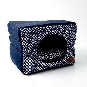 Cama Cabana Flex para Cachorros  | Gatos Arabesco Marinho