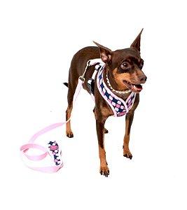 Peitoral com Guia para Cachorro Boreal Rosa