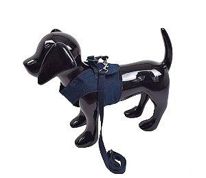 Peitoral com Guia para Cachorro Guaxinim Azul Petróleo