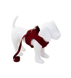 Peitoral com Guia Aerado para Cachorro Vermelho