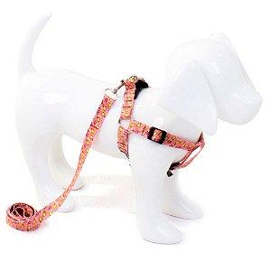 Conjunto Peitoral e Guia para Cachorro Sorvete Rosa