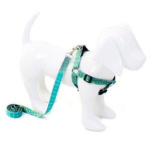 Conjunto Peitoral e Guia para Cachorro Sorvete Aqua
