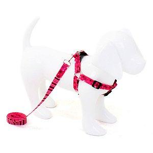 Conjunto Peitoral e Guia para Cachorro Estrela Pink
