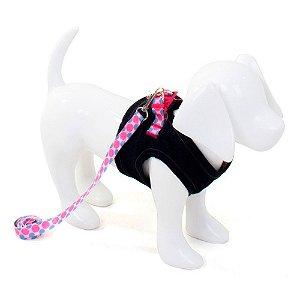 Peitoral com Guia para Cachorro Jeans Xadrez Rosa