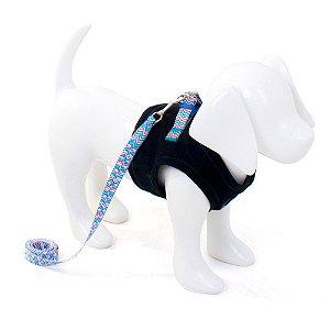 Peitoral com Guia para Cachorro Jeans Xadrez Azul
