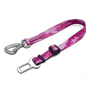 Cinto de Segurança para Cachorro Camuflado Rosa By Cleber Santos