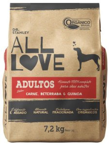Ração Orgânica All Love para Cães Adultos Sabor Carne 7,2 kg