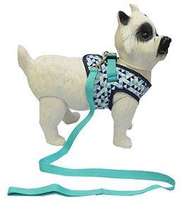 Peitoral com Guia para Cachorro Triângulos Verde